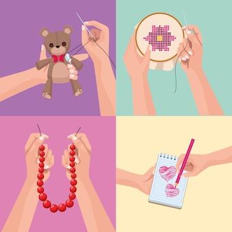 Quatro ícones de projetos de artesanato