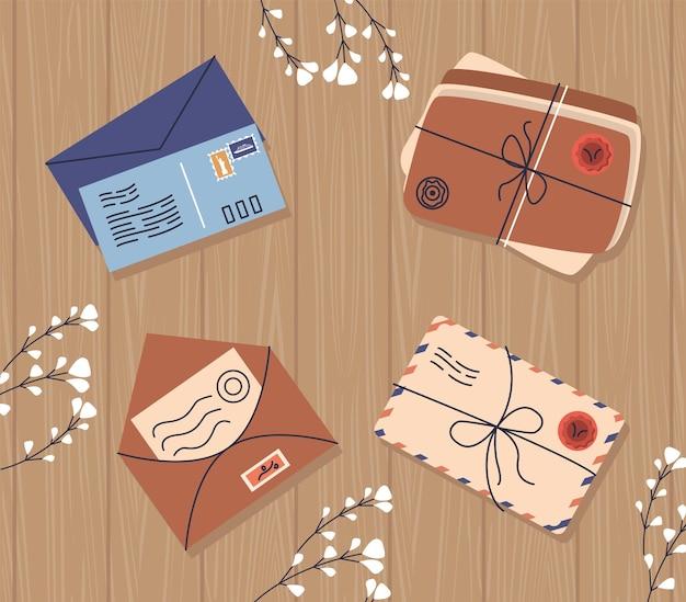 Quatro ícones de serviço postal