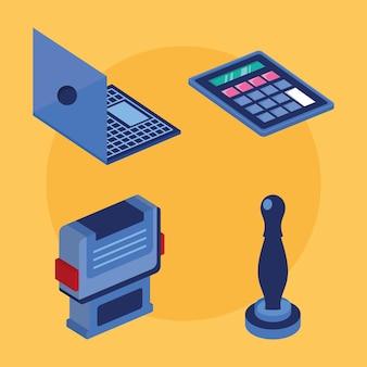 Quatro ícones de serviços notariais