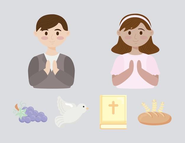 Quatro ícones do conjunto da primeira comunhão