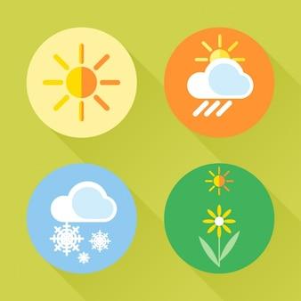 Quatro ícones sobre as estações do ano