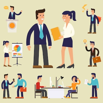 Quatro ilustrações de empresário bem sucedido de personagem de desenho animado