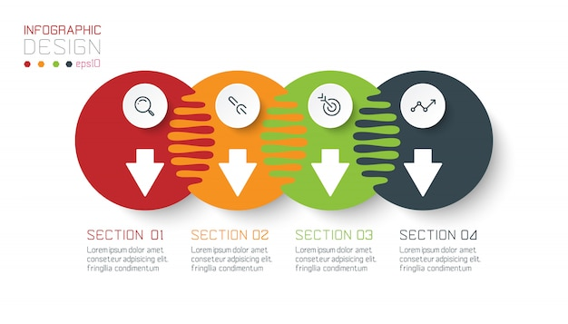 Quatro infográficos de círculo harmonioso.