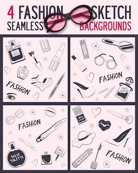 Quatro itens de beleza e bem-estar de padrão uniforme
