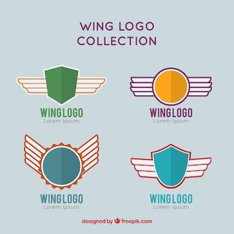 Quatro logotipos de escudos com asas