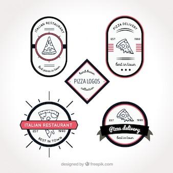 Quatro logotipos para a pizza em um fundo branco
