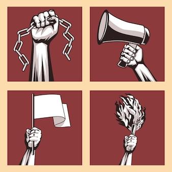 Quatro mãos protestando contra o ícone da revolução