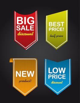 Quatro marcas de venda colorido sobre fundo preto