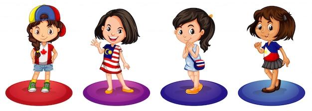 Quatro meninas de diferentes países
