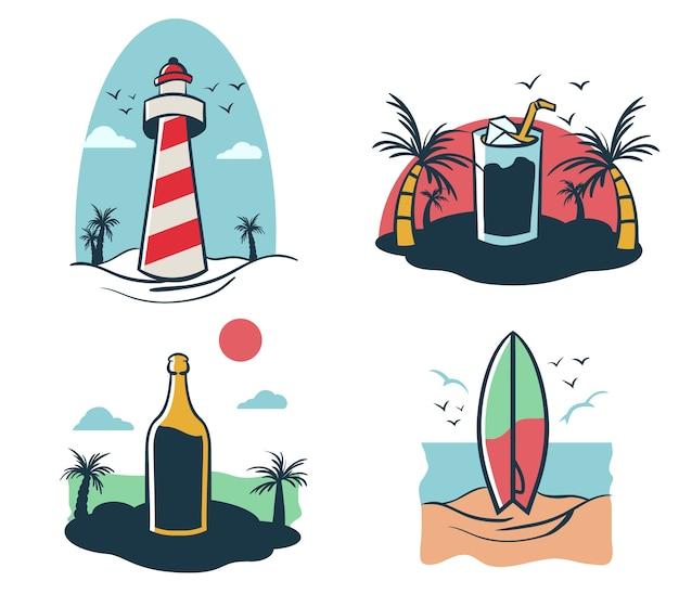 Quatro, mini, ilustração, de, praia, feriado, tema