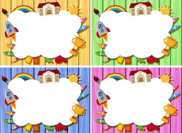 Quatro modelos de borda com diferentes cores de placas de madeira