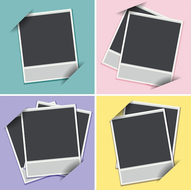 Quatro modelos de quadros em diferentes cores de fundo