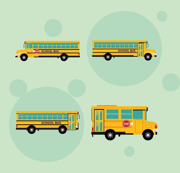 Quatro ônibus escolares