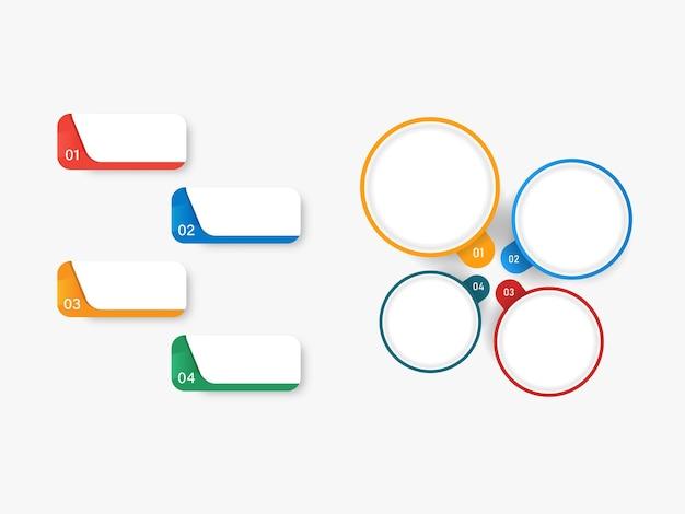 Quatro opções coloridas com espaço de cópia no fundo branco para o conceito de infográfico.