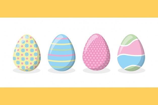 Quatro ovos de páscoa feliz com cores pastel