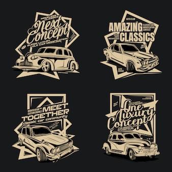 Quatro pacotes de carros clássicos