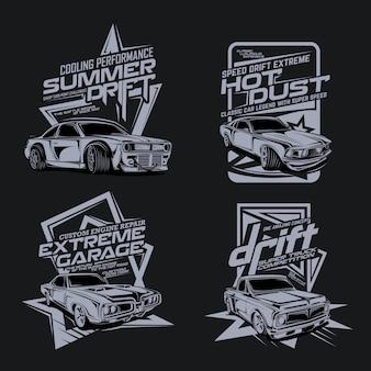 Quatro pacotes de carros de corrida rápidos clássicos