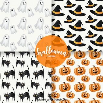 Quatro padrões diferentes em um tema de halloween