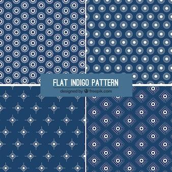 Quatro padrões índigo planas