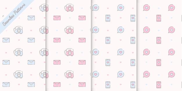 Quatro padrões sem costura kawaii fofos em cores pastel vetor premium