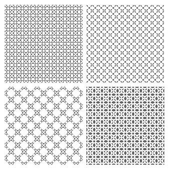 Quatro padrões sem costura monocromáticos em estilo oriental