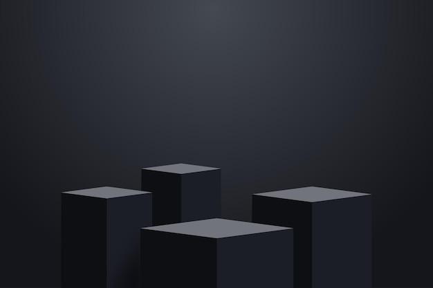 Quatro palcos de plataforma escura realistas com pedestais vazios de forma ubica em 3d pódio para exibição de produtos