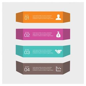 Quatro passos gráficos da informação pode ilustrar uma estratégia ou um fluxo de trabalho