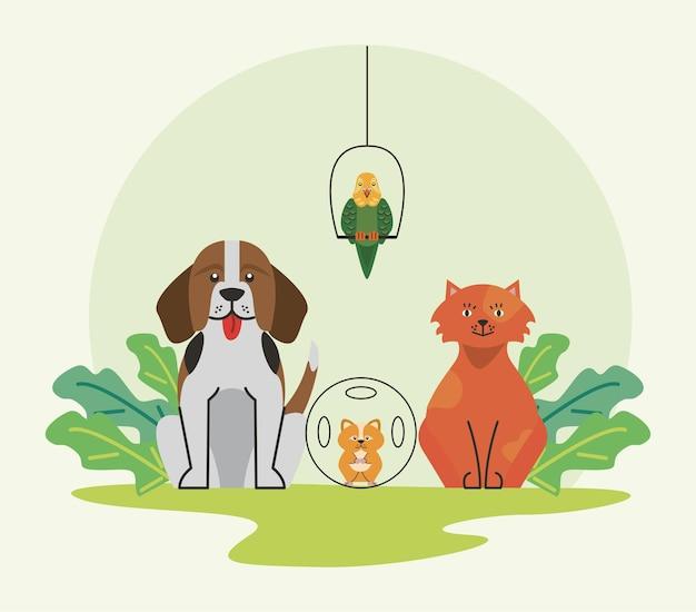 Quatro personagens de animais de estimação