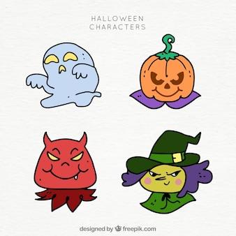 Quatro personagens de halloween desenhados à mão