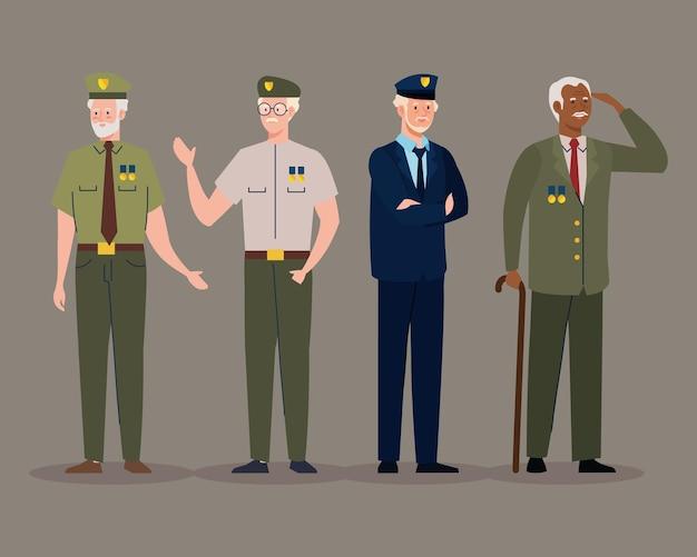 Quatro personagens veteranos em pé