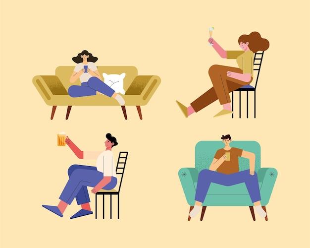 Quatro pessoas relaxando