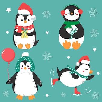 Quatro pinguins de férias engraçadas em pano de inverno.