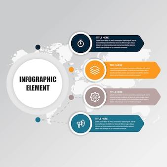 Quatro pontos infográfico elemento estratégia de negócios