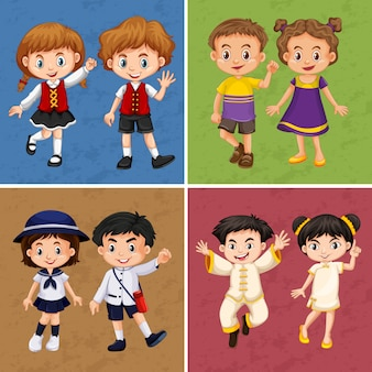 Quatro quadros de crianças de diferentes países