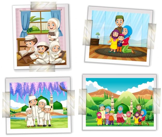 Quatro quadros de fotos da ilustração da família muçulmana