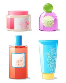 Quatro recipientes de cosméticos