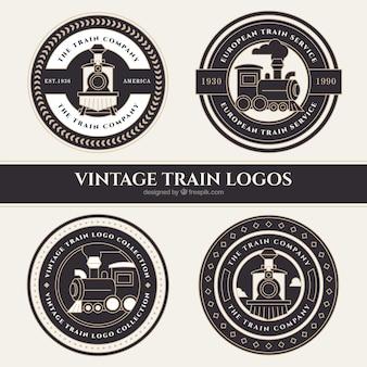 Quatro, redondo, trem, logotipos, vindima, estilo