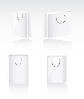 Quatro sacos em branco com sombra