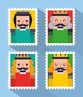 Quatro selos com desenhos animados de quebra-nozes