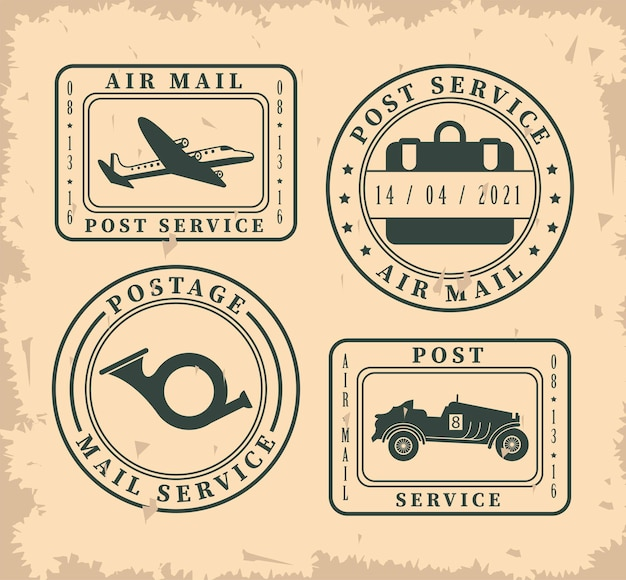Quatro selos postais