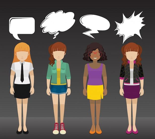 Quatro senhoras com textos explicativos
