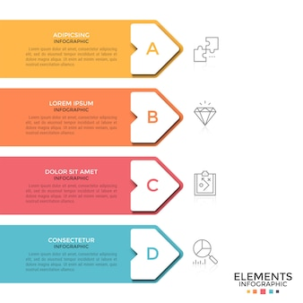 Quatro setas coloridas com caixas de texto e letras dentro colocadas uma abaixo da outra e apontando para ícones de linhas finas. conceito de 4 etapas sucessivas. modelo de design moderno infográfico.