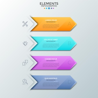 Quatro setas coloridas ou marcadores com lugar para texto dentro, símbolos de linha fina colocados um abaixo do outro. conceito de lista de planejamento com 4 etapas. modelo de design do infográfico. ilustração vetorial.