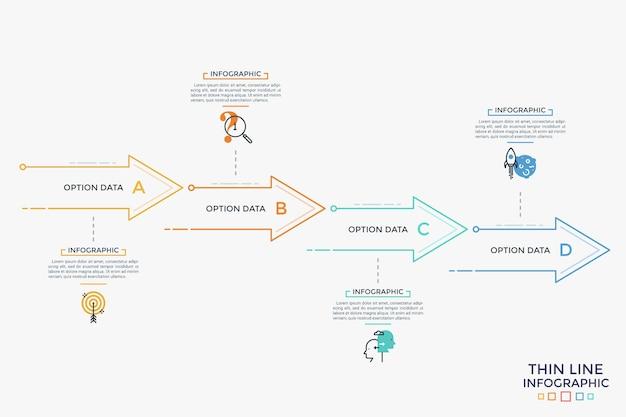 Quatro setas ou ponteiros, símbolos de linha fina e caixas de texto organizadas em linhas horizontais. conceito de 4 fases de evolução do negócio. modelo de design do infográfico. ilustração vetorial para apresentação.