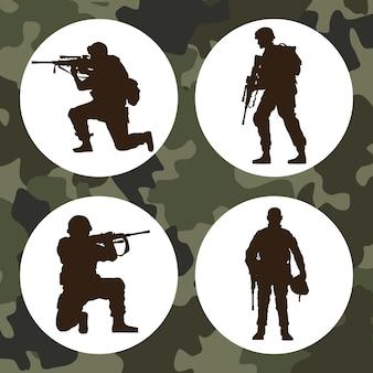 Quatro silhuetas de soldados militares