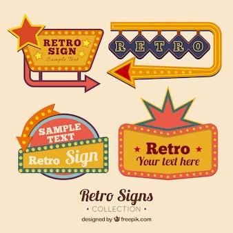 Quatro sinais ao ar livre, estilo retro