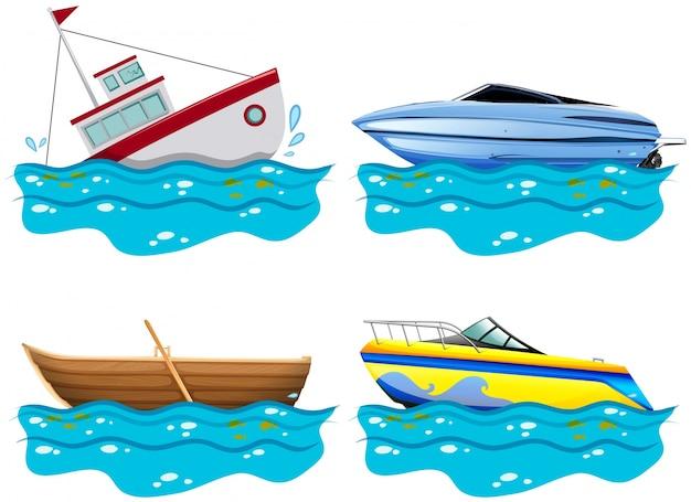 Quatro tipos diferentes de barcos