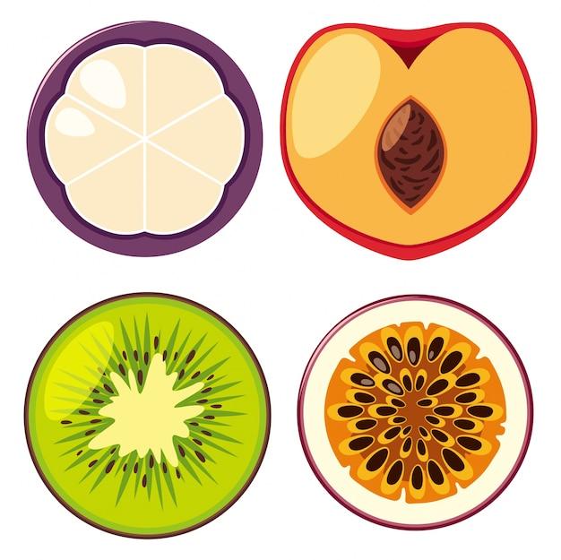 Quatro tipos diferentes de frutas