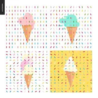 Quatro várias colheres de sorvete