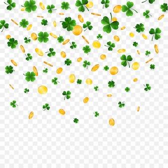 Quatro verdes e trevos de folhas de árvore e moedas de ouro